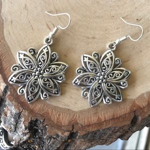 Silver plated lotus flower dangly boho earrings